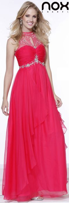 Prom Gown Long Fuchsia Chiffon Empire Cap Sleeves High Neck (3 Colors Available) #discountdressshop #fuchsia #highneck #promgown