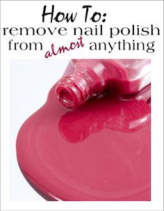 Have you ever spilled fingernail polish on clothing, wood or carpet? Tips for getting it out are here.... Will be glad I pinned this later!