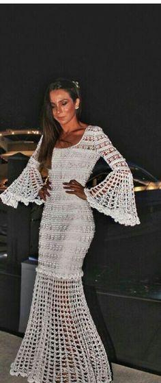Cut of the sleeves/ dress Crochet Beach Dress, Crochet Wedding Dresses, Crochet Skirts, Crochet Clothes, Crochet Lace, Knit Dress, Dress Skirt, Boho Fashion, Fashion Dresses