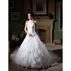Wedding Dress Ball Gown Chapel Train Tiers Organza High Neck Halter With Beading Appliques - USD $ 299.99