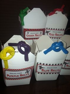 Karate party treat boxes - karate belts made from flavored Twizzlers