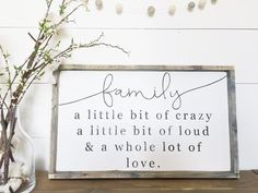 Family | A little bit of crazy ~ Made from quality wood | latex paint | wood stain ~ All signs come ready to hang with wire backing ~ Measurements are approxim