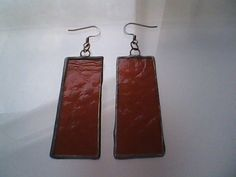 Stained Glass Earrings Made Of Copper And Red Cathedral Glass, Tiffany Style