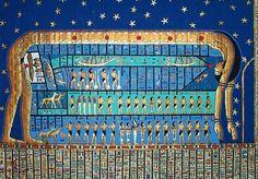La diosa del cielo Nut, en un antiguo mapa celeste.                                                                                                                                                      Más