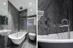 Une élégante salle de bain avec céramique en chevrons au mur.