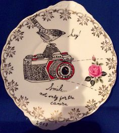 Plate no. 7 up cycled china collage by Adrienne Geoghegan Ceramic Plates, Upcycle, Mixed Media, Illustration Art, Collage, China, Ceramics, Crafty, Contemporary