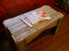 rustic coffee table using recycled wood.