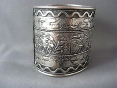 Vintage Sterling 925 WIDE REPOUSSE CUFF Bracelet~LIONS and Anciant Plants #Bangle +++SOLD+++
