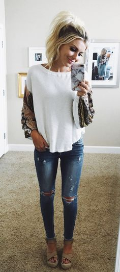 #fall #outfits women's blue whiskered distressed jeans #wardrobebasicslist