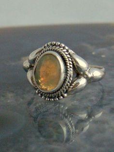 Sz  8, Green, Orange, Blue Multicolor Natural ETHIOPIAN WELO OPAL Gemstone, 925 Solid Sterling Silver Ring Jewellery! by AmeogemJewellery on Etsy