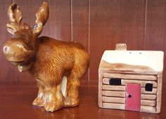 Vintage Moose and Log Cabin Salt & Pepper Shakers - Unique!!!
