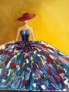 La femme au chapeau Die Frau im Hut Simple Acrylic Paintings, Easy Paintings, Acrylic Art, Painting People, Diy Canvas Art, Painting Techniques, Diy Art, Watercolor Art, Art Projects