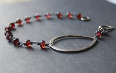 Point Bracelet -  Oxidized Sterling Silver and Red Garnet Simple and Unusual Bracelet