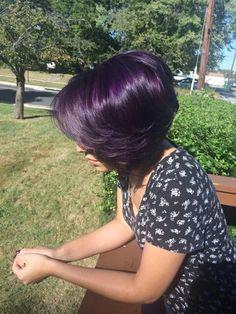 Light purple and amethyst purple joico semi color! Love my hair! Light purple and amethyst purple jo Hair Color Purple, Hair Color And Cut, Color For Short Hair, Short Purple Hair, Purple Bob, Purple Pixie, Hair Colors, Plum Hair, Langer Bob