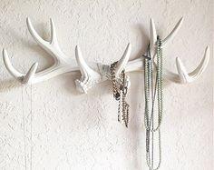 Deer Antler Rack Wall Hook In White - Faux Antlers Decor- Antler Hook & Jewelry…