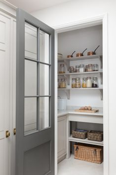 Astonishing Built Kitchen Pantry Design Ideas There are two very important options that should be considered in every large kitchen pantry cabinet design. Although these options … Kitchen Larder, Larder Cupboard, Kitchen Pantry Design, Kitchen Pantry Cabinets, Open Plan Kitchen, Kitchen Decor, Kitchen Ideas, Barn Kitchen, Kitchen Appliances
