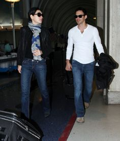 Keith Lieberthal Photos - Actress Julianna Margulies and her husband Keith Lieberthal arriving for a flight at LAX airport in Los Angeles, CA on January 16, 2012 - Julianna Margulies And Keith Lieberthal Arriving For A Flight At LAX Julianna Margulies, Husband, Actresses, Chic, People, January, Pants, Fashion, Female Actresses