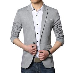 1e46c0fe521a Business Slim Fit Casual Spring Comfortable Soft Best Cool Blazers for Men  Blazer Gris