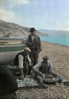 Autochrome: Hans Hildenbrand. Italian vendors sort through their catch for anchovies to sell. Italy.