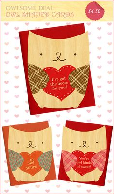 Owl Valentine Card Night Owl Paper Goods #owl #valentine #card I'VE GOT THE HOOTS FOR YOU! Lol