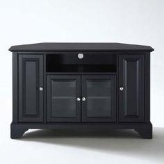 cool Crosley Furniture LaFayette 48-Inch Corner TV Stand, Black - For Sale