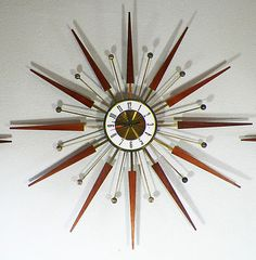 Mid Century Starburst Atomic Clock & Sconces