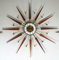 Mid Century Starburst Atomic Clock & Sconces