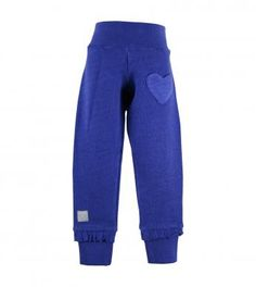 100% cotton slub french terry knit solid color pull-on pants with ribbed cuffs & elasticized waistband, left thigh knit heart shaped patch pocket and jersey knit frill at cuffs. Full length pants. Machine washable. Imported.