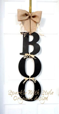 Extra LARGE BOO Halloween Wreath Fall wreath por SparkleWithStyle