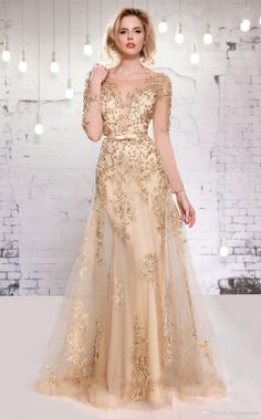 Long Sleeve Evening Dresses 2015 Gold Lace Appliques Beads Formal Dress A-Line Sheer Crew Mother of the Bride Long Evening Gowns with Belts