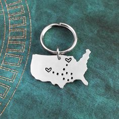 United States Keychain Personalized Hand Stamped USA Necklace Long Distance Relationship USA Couples Key Ring Heart Map State Necklace