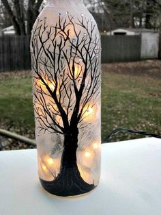 Wine Bottle Light, Night Light, Hand Painted Wine Bottle, Black Tree, Sparkles on Etsy, $22.00 by ayorca