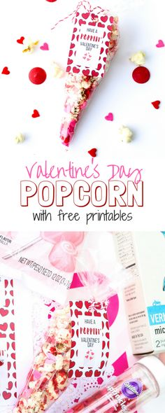 Valentine's Day Popcorn Treats | School Treats | DIY | Free Printable | Desserts | Kids and Toddlers School Party Treats | Crazy Life with Littles