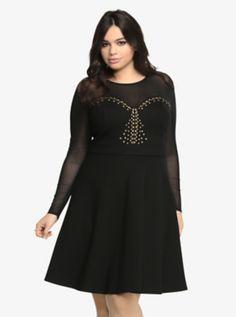 Mesh Studded Skater Dress