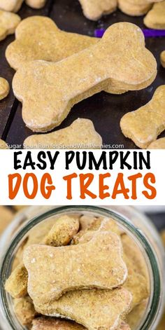 When you're busy in the kitchen this holiday season, make sure you don't forget about your four-legged family members! This Pumpkin Dog Treat recipe is easy to make with only 6 ingredients, and they are also a great way to use up any leftover pumpkin. Dog Cookie Recipes, Homemade Dog Cookies, Dog Biscuit Recipes, Homemade Dog Food, Dog Treat Recipes, Dog Food Recipes, Doggie Cookies Recipe, Recipe For Dog Biscuits, Cookies For Dogs