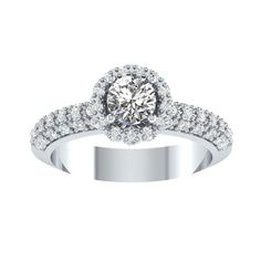 1.75Ct Round Cut Diamond Soliatire Enagagement Wedding Ring in 14K White Gold  #RegaaliaJewels #SolitairewithAccents #Engagement