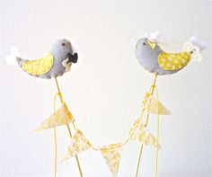 Honey Wedding Cake Topper. Grey and Yellow Bird Cake topper. Modern Wedding. White lace-yellow satin. Elegant Cake Topper, via Etsy.