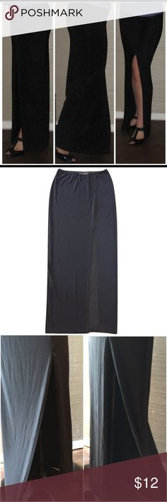 Long stretchy black skirt with slit, size:M Long stretchy black skirt with slit, size:M #penelopesaintj Skirts Maxi