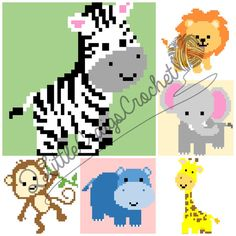 **This listing is for GRAPH PATTERNS ONLY - not a finished product**  The file is a PDF containing 6 graphs (lion, elephant, hippo, zebra,