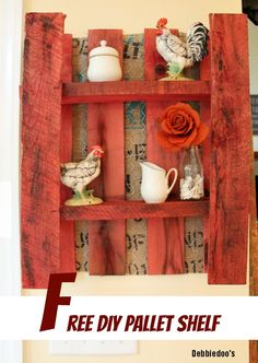 pallet diy shelf diy FREE! With #burlap and chicken wire on the back. step by step tutorial