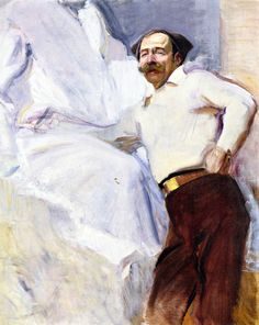 Joaquín Sorolla y Bastida (1863 - 1923). The Sculptor Mariano Benlliure, 1917.  Oil on Canvas, 140.8 x 115 in (357.63 x 292.1 cm)