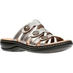 c56d89128e5d Clarks Women s Leisa Grace Strappy Slide Pewter Metallic (Grey) Full Grain  Leather (US