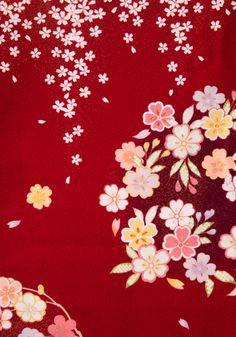着物 No:735 商品名:赤 花小桜