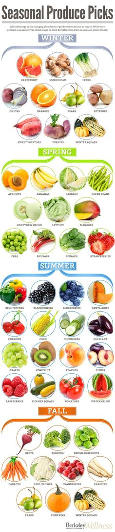 This is a handy infographic for when fruits & vegetables are in season for losing weight.