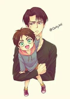 Little Eren and Levi, Attack on Titan, hug, cuteness, drawing
