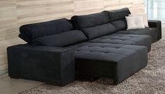 Sofá retrátil E reclinável - 5 Lugares - PRETO |