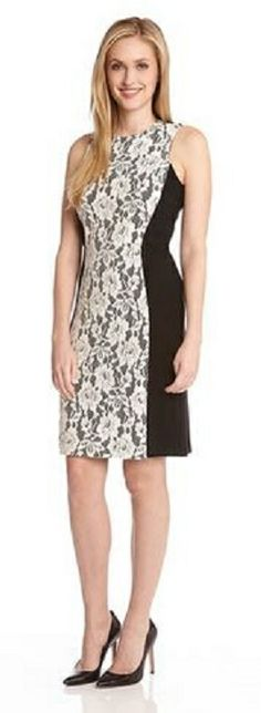 BLACK AND WHITE CONTRAST FLORAL LACE DRESS This Karen Kane dress is sheathed in black with a panel of pretty lace that curves out a feminine and flirty form. Pair with pumps for your next evening event. #Karen_Kane #Black_and_White #Lace #Summer_2014 #Fashion