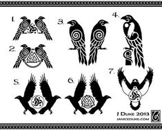 hugin y munin celtic Norse Tattoo, Viking Tattoos, Warrior Tattoos, Armor Tattoo, Yggdrasil Tattoo, Celtic Raven Tattoo, Inca Tattoo, Viking Designs, Celtic Designs