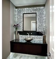 When your powder room features a wall that sparkles Via Homes And Style KC Design Services, Modern Bathroom, Hawaii, Powder, Centerpieces, Sink, House Plans, Mirror, Architecture