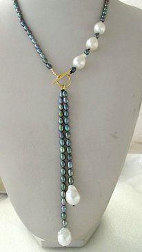 $ Wholesale_jewelry_wig $ liberan Pavo Real de Agua Dulce de Arroz Negro y Blanco Inusual Barroco Keshi Keishi Collar de Perlas